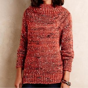 Anthropologie Moth Burnt Orange Cowl Neck Sweater